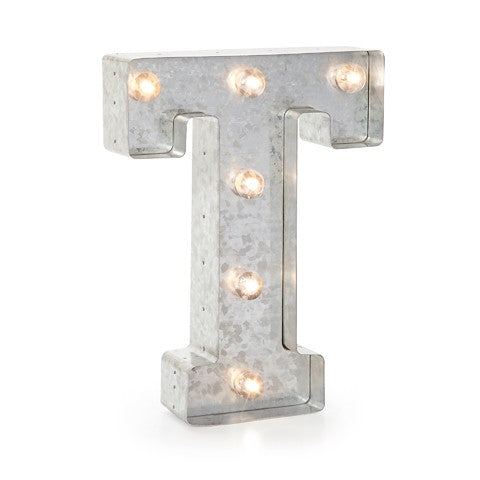 "Letra de metal con luz LED ""T"" - Decochic"