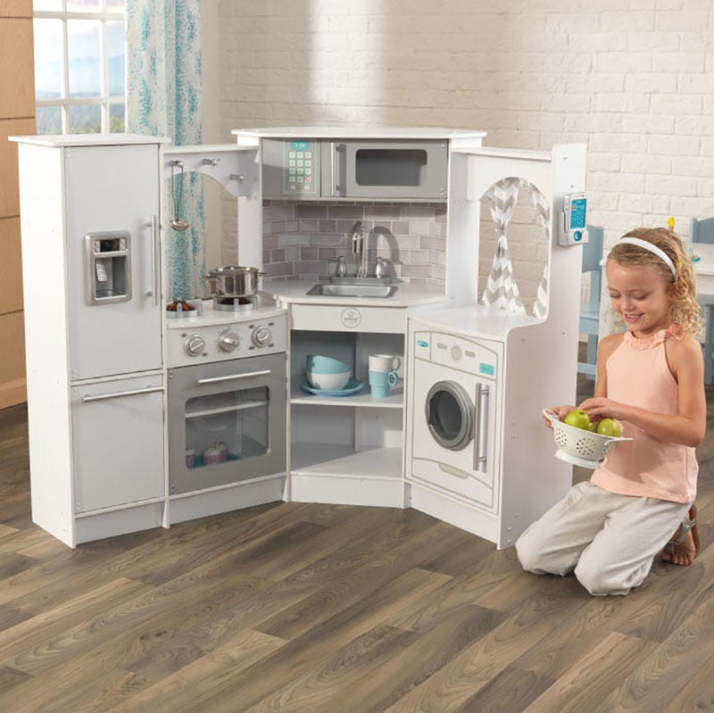 Ultimate Corner Toy Kitchen con luces y sonidos - Kidkraft blanco - Decochic