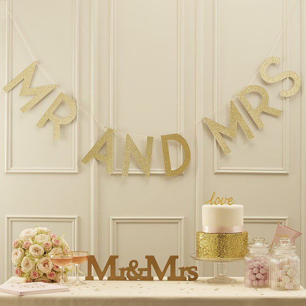 Gold Glitter Garland Mr & Mrs - Decochic