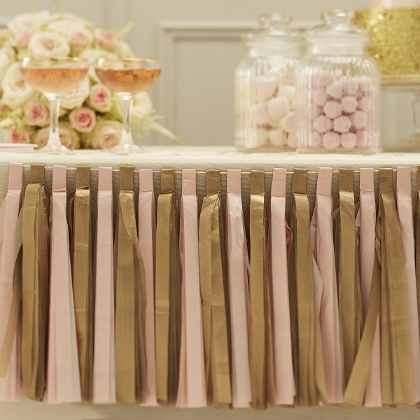 Birthday Decorations Garland Tassels Pink and Gold - Decochic
