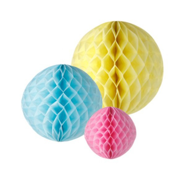 Decorations Birthday Spheres Honeycomb Pastel - Decochic