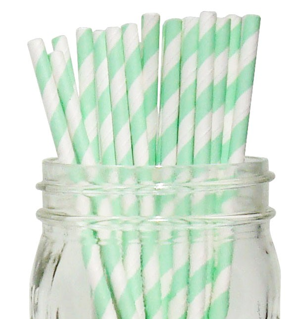Mint Straws with White Stripes - Decochic