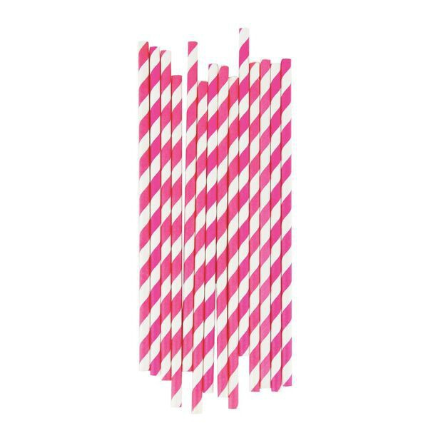 Pink Fuchsia Straws with White Stripes - Decochic