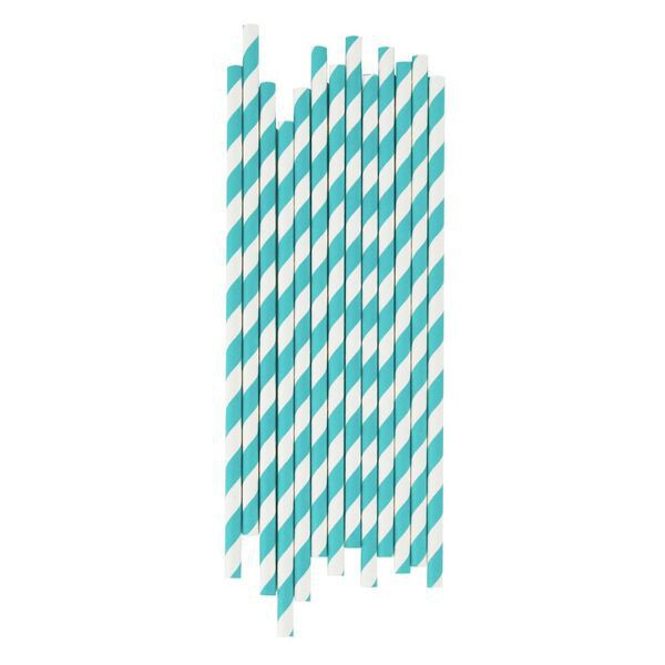 Tiffany Straws with White Stripes - Decochic