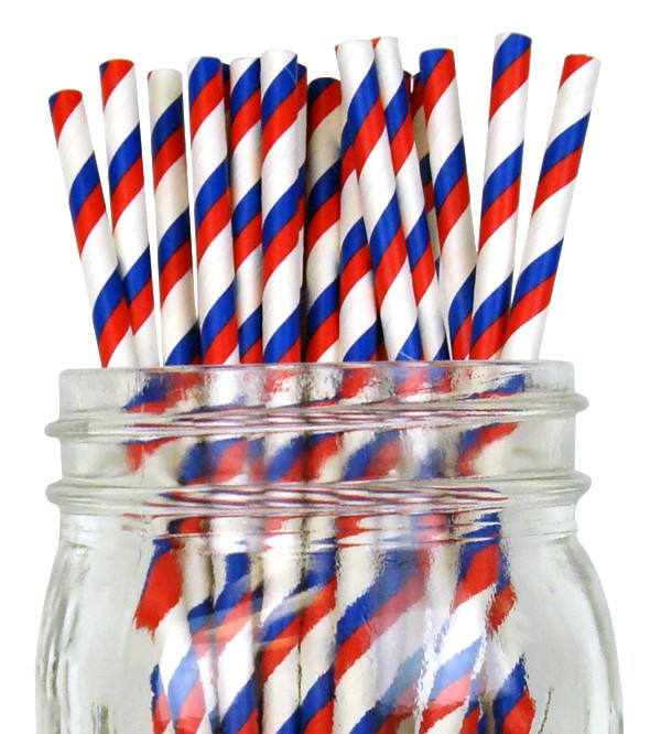 Red Straws with White and Blue Stripes - Decochic
