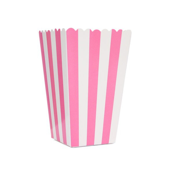 Fuchsia Boxes with White Stripes for Pop Corn - Decochic