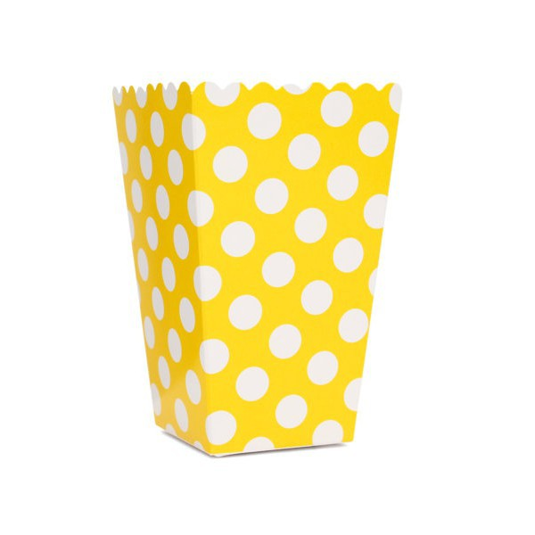 Yellow Polka Dot Boxes for Pop Corn - Decochic