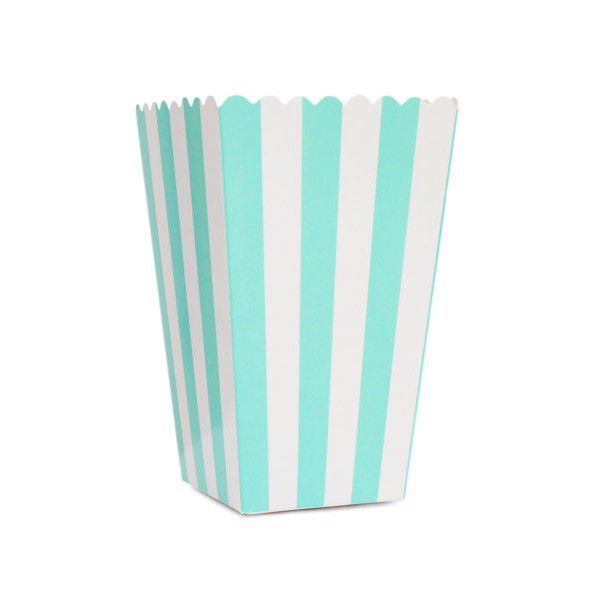 Tiffany Boxes with White Stripes for Pop Corn - Decochic