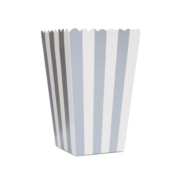 Silver Boxes with White Stripes for Pop Corn - Decochic