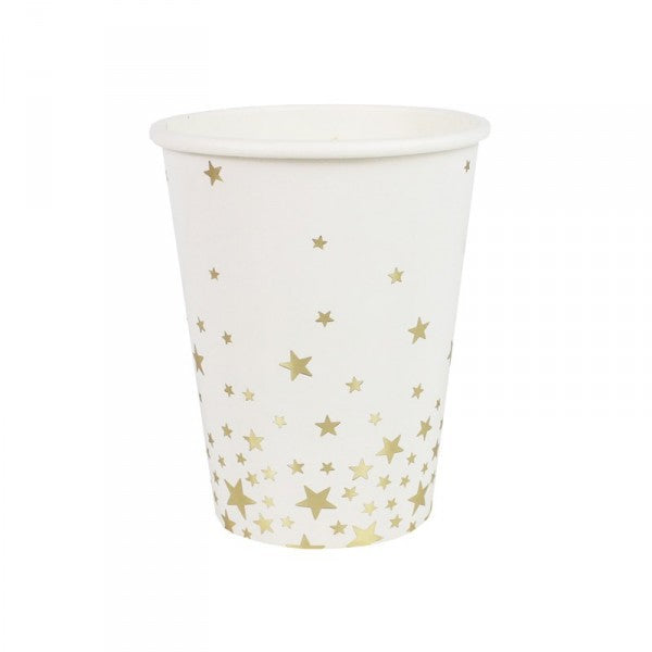White Gold Star Paper Cups - Decochic