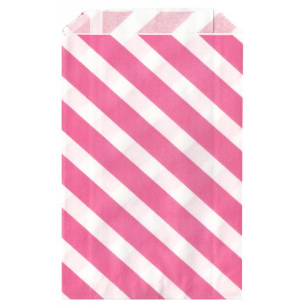 Fuchsia Striped Paper Bag - Decochic