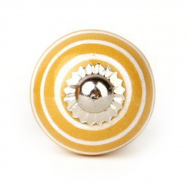 Yellow Ceramic Knob with White Stripes - Decochic