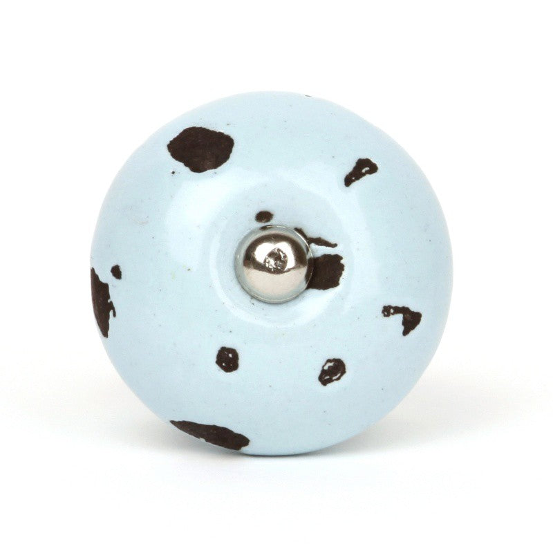 Shabby Blue Ceramic Knob - Decochic