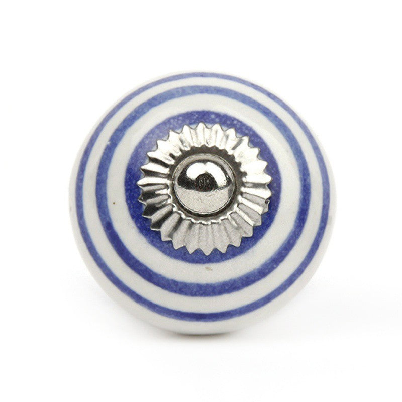 White Ceramic Striped Blue Knob - Decochic