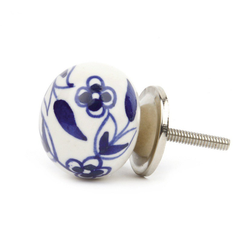 White Ceramic Knob with Blue Flowers - Decochic