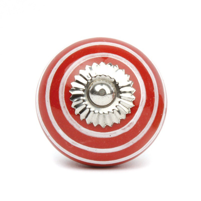 Red Ceramic Knob with White Stripes - Decochic