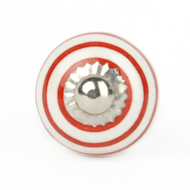 Red Striped White Ceramic Knob - Decochic