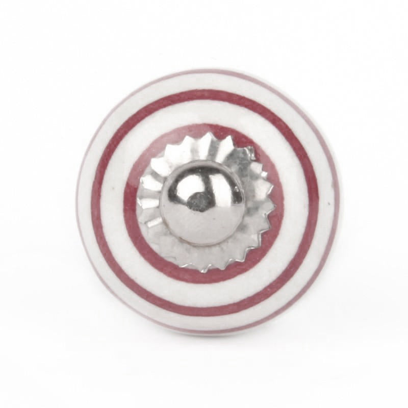 Large Knob in White Ceramic with Bordeaux Stripes - Decochic