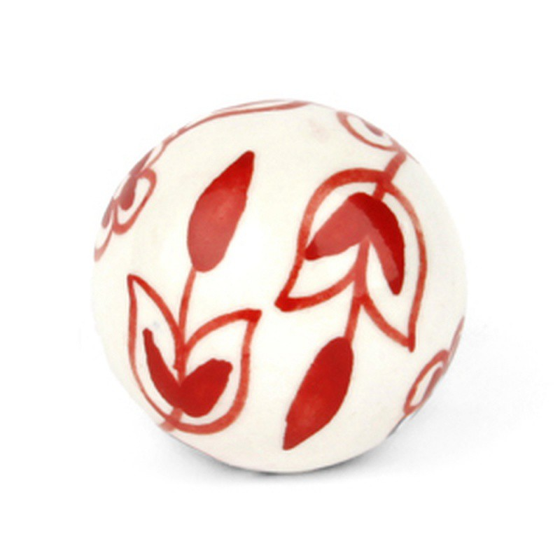 White Ceramic Knob with Red Flowers - Decochic