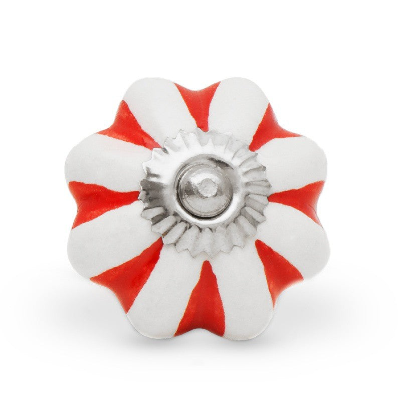 Red and White Flower Ceramic Knob - Decochic