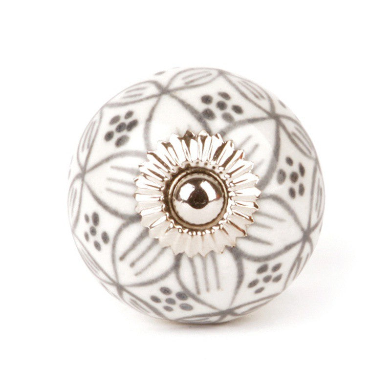 Gray Geranium Ceramic Knob - Decochic