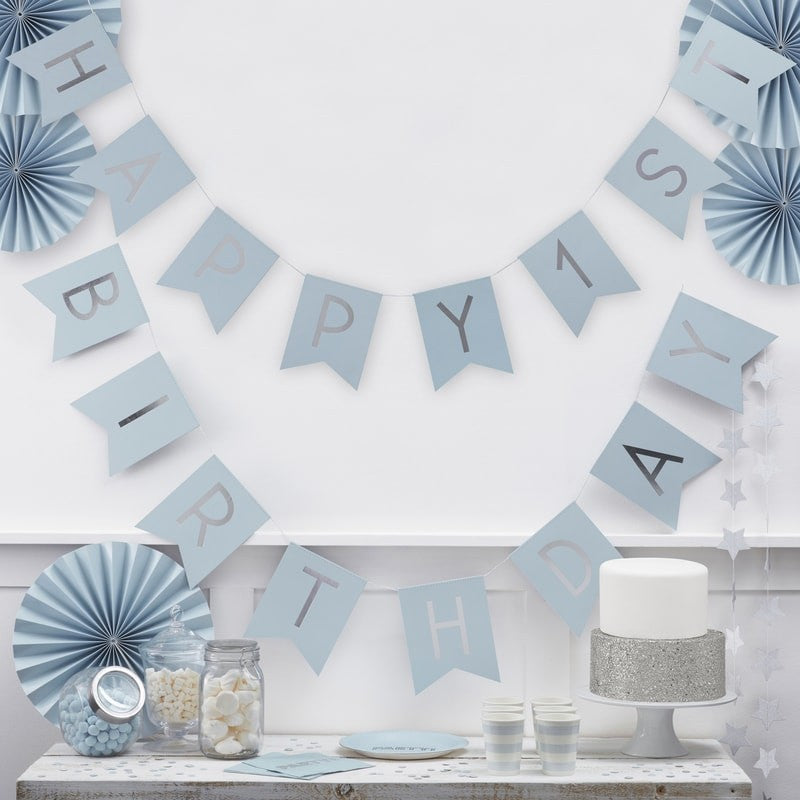 Written Happy 1St Birthday Blue and Silver - Decochic