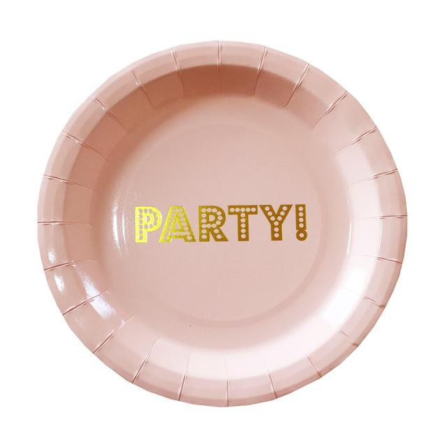 Pink and Gold Paper Party Plates - Decochic