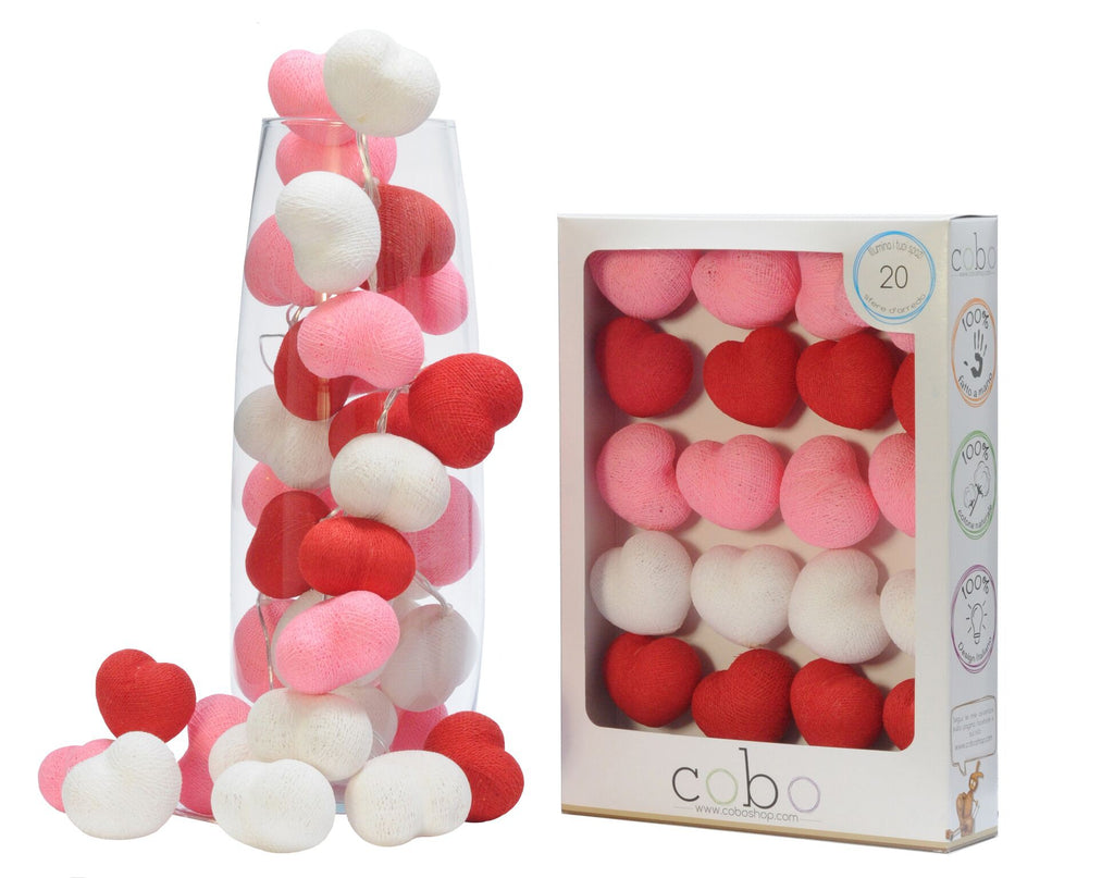 Luminous balls in the shape of a heart - Decochic