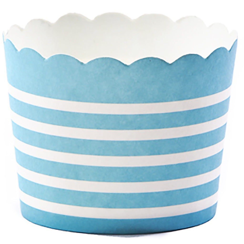 Small Blue Baked Strip with White Stripes - Decochic