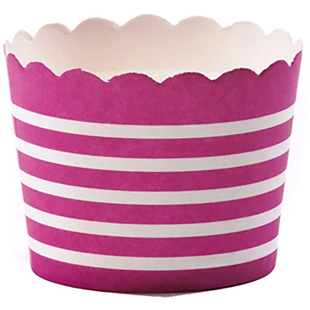 Small Fuchsia Baked Cup with White Stripes - Decochic