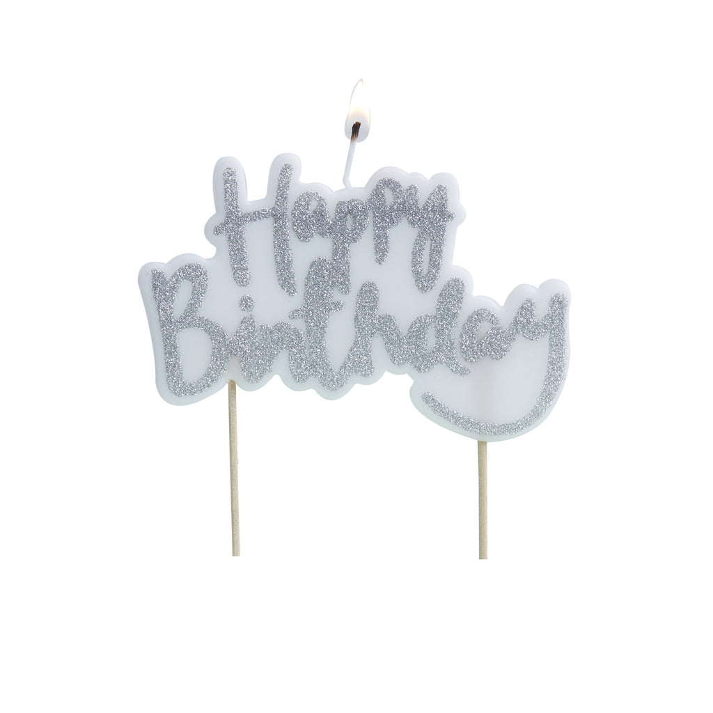 Happy Birthday Candle Silver - Decochic
