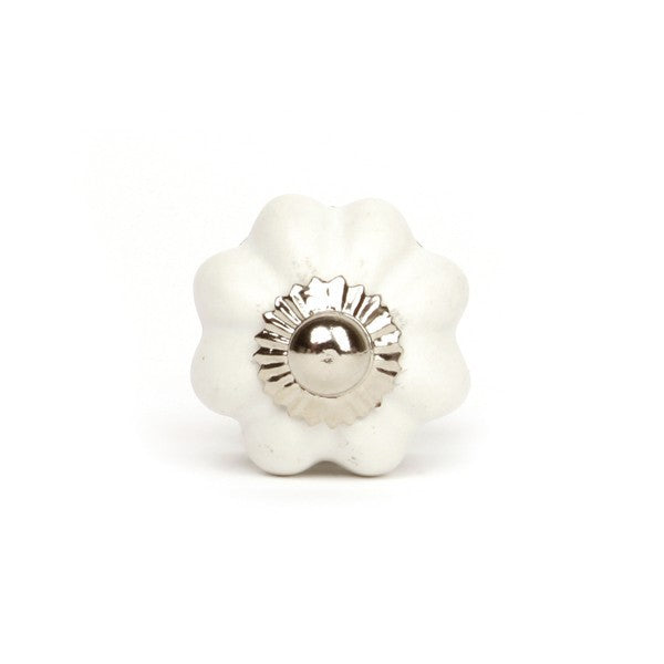 Small Ceramic Knob White Flower - Decochic