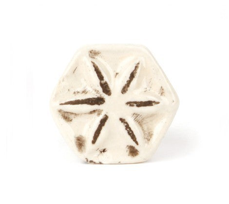 Shabby Effect White Ceramic Knob - Decochic