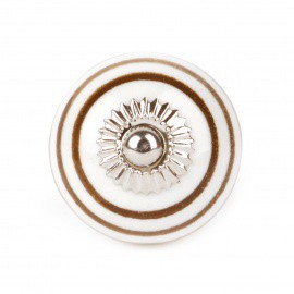 Brown Ceramic Knob with White Stripes - Decochic