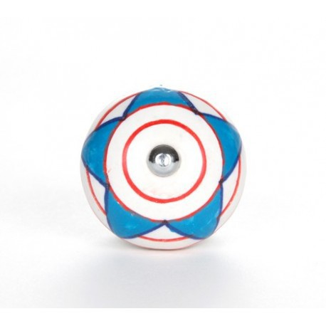 Set 3 Blue and Red Ceramic Knobs - Decochic