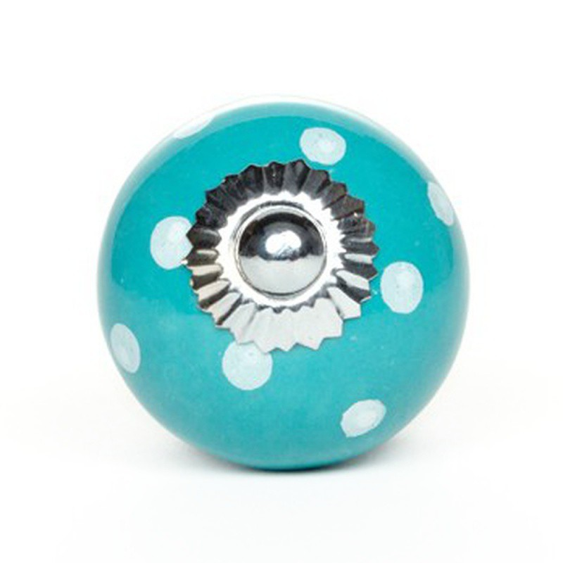 Pomello in Ceramica Tiffany a Pois Bianchi - Decochic