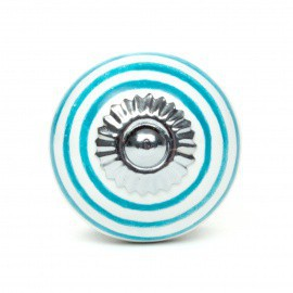Tiffany Striped White Ceramic Knob - Decochic