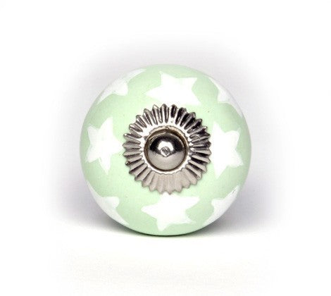 Large Knob in Green Ceramic with White Stars - Decochic