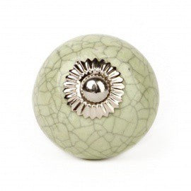 Large Green Ceramic Shabby Effect Knob - Decochic
