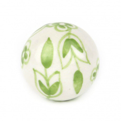 Large Green Ceramic Knob with Green Flowers - Decochic