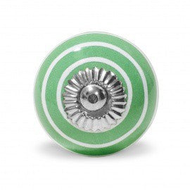 Knob in Dark Green Ceramic with White Stripes - Decochic