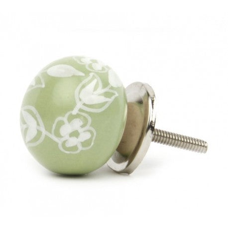 Large Green Ceramic Knob with White Flowers - Decochic