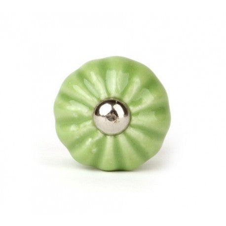 Round Knob in Light Green Ceramics - Decochic