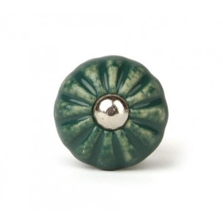 Round Dark Green Ceramic Knob - Decochic