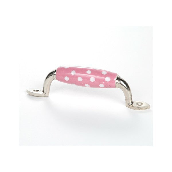 Pink Polka Dot Ceramic Handle - Decochic