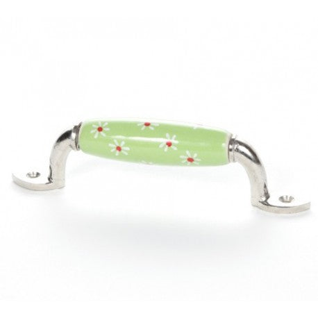 Green Ceramic Handle with Large Flowers - Decochic