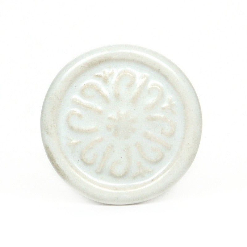 Large Round White Ceramic Knob - Decochic
