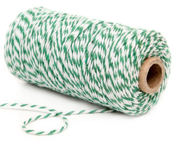 Green and White Twine Bakers Decochic - Decochic
