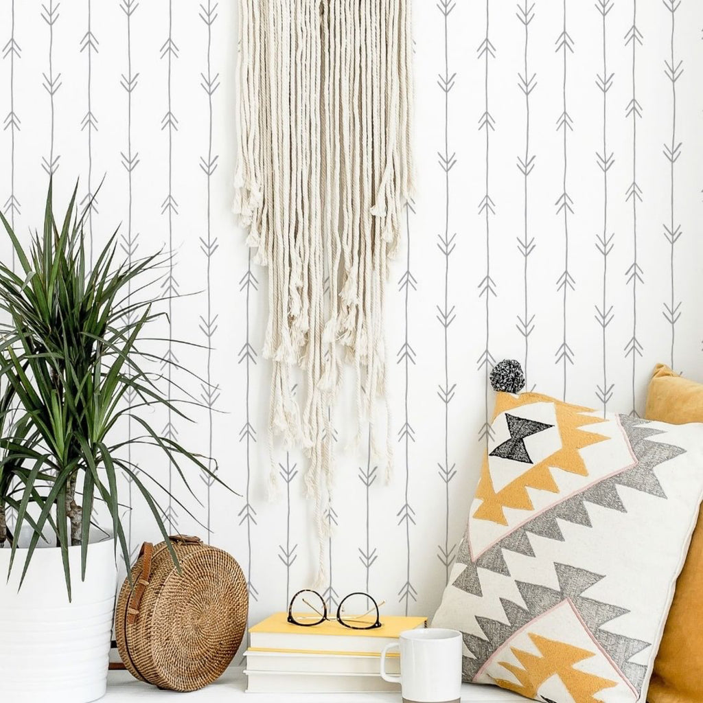 Boho Arrows Self-Adhesive Film White Background - More Colors Available - Decochic