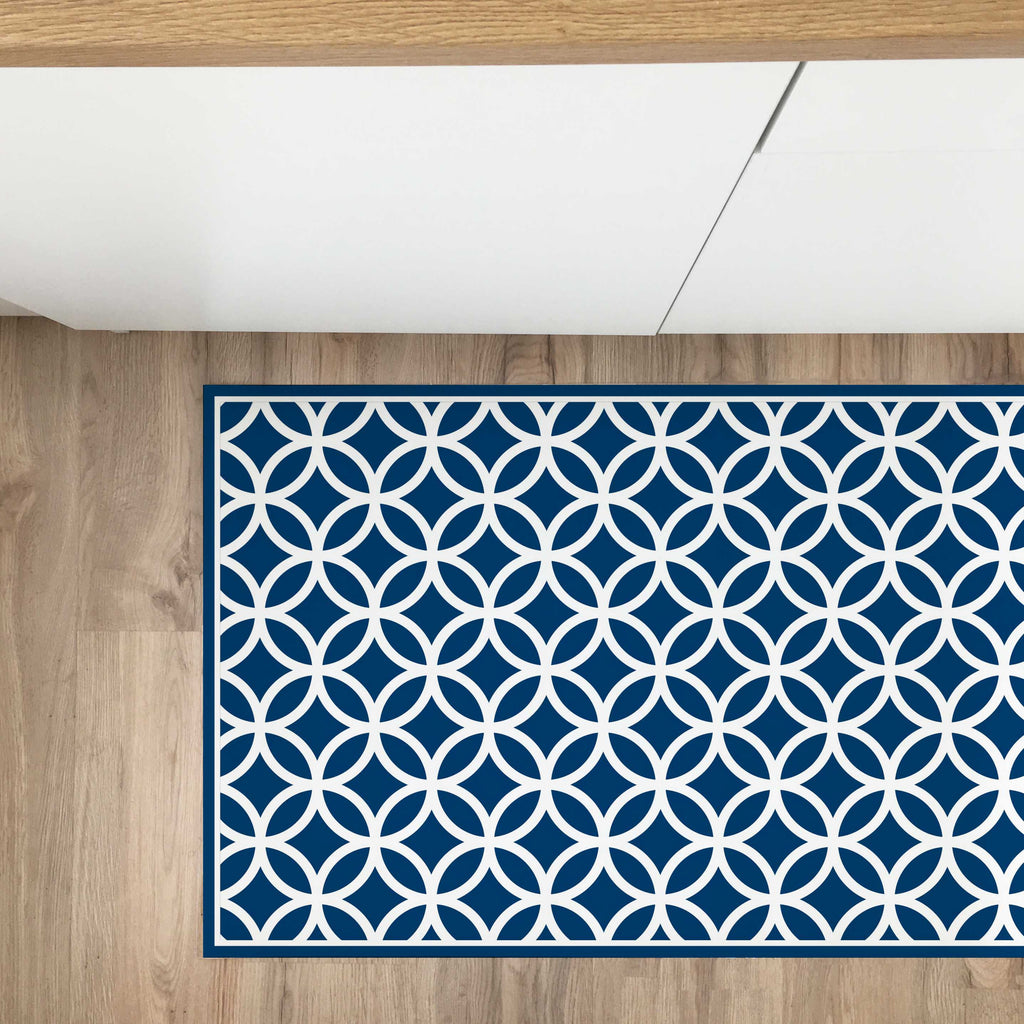 Tappeto in Vinile 50x100 Cerchietti Navy - Decochic